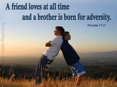 Proverbs 17:17 A Friend Loves At All Times (blue)